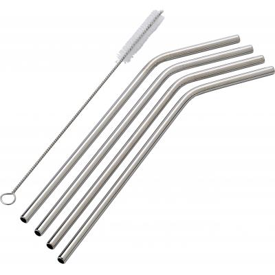 Image of Four stainless steel, environmentally friendly drinking straws. Length of the straws is 23 . The set includes a cleaning brush.